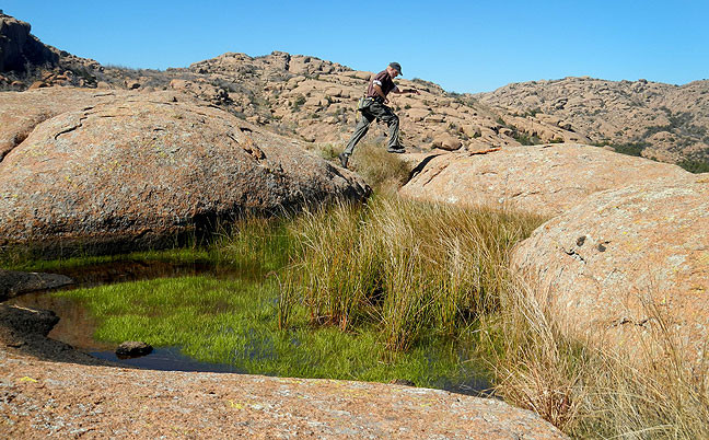 Michael made this image of me leaping across a small chasm.