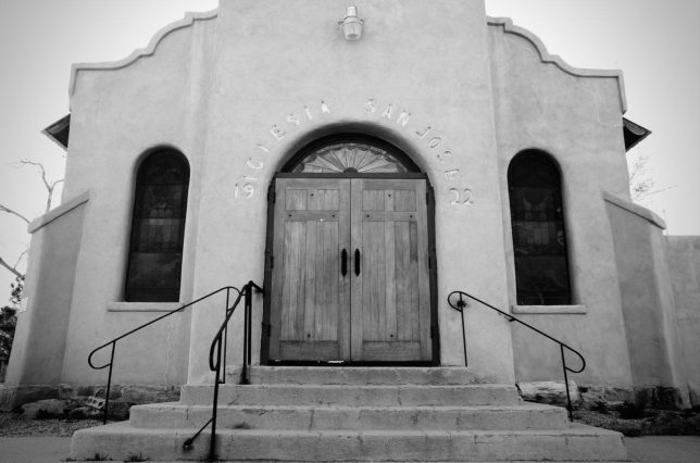 The Church at Los Cerrillos, rendered in black and white.