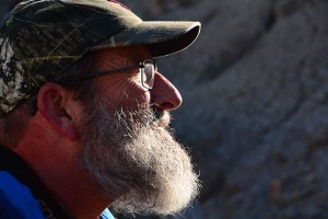 Greg Smith sports an Ansel Adams-esque beard as we started our exploration of the Penistaja Badlands.