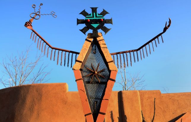 This is another view of the sculpture that sits at the curve in the road in the middle of Madrid, New Mexico.