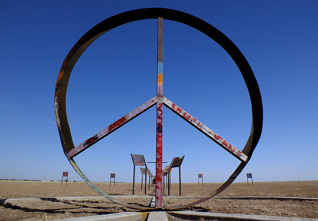 The actual peace sign in the peace park was about 12 feet tall.
