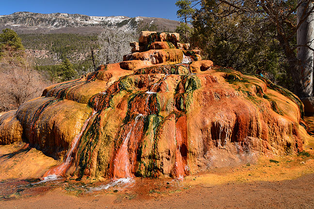 An odd attraction: Pinkerton Hot Spring sits right next to U. S. 550 north of Durango. Like Soda Dam, which Abby and I photographed in 2003, the formation is created from mineral deposits in the spring's water.