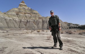 "Your host poses for a selfie at ""The Peak"" in the north section of the Bisti Wilderness."