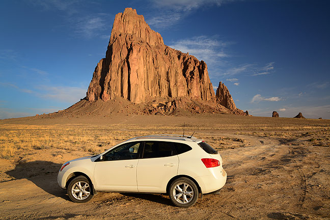"My Nissan Rogue sits at the end of the ""road"" to Shiprock Peak in far northwestern New Mexico."