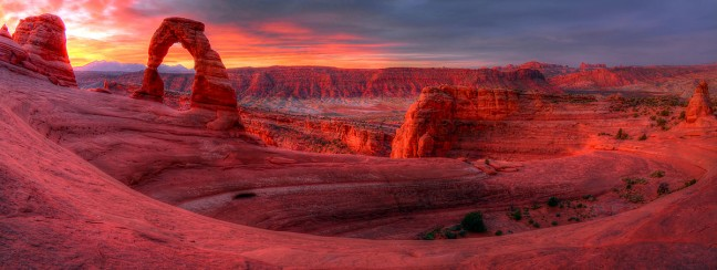 This is a fisheye panograph, five-frame HDR image of Delicate Arch. (Click to see it larger.)