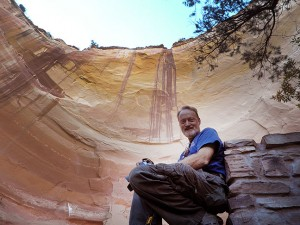 A nice family from Austin, Texas made this image of me in the Chama Valley's Echo Amphitheater.