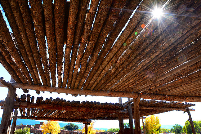 Used for shade in the center of the plaza of Taos Pueblo, these wooden structures gave me an opportunity to express the brightness and clarity of the day.