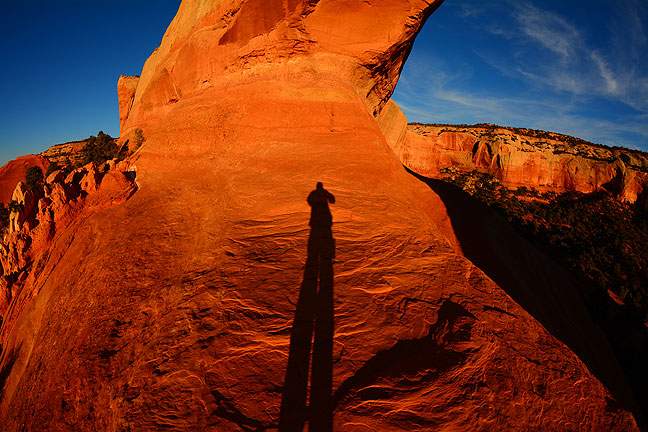 Standing in Wilson Arch facing east, I saw my long shadow and made it into a self portrait.