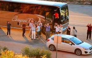 "Nothing says ""I'm done here"" for me like the arrival of a bus full of tourists, like these at Wilson Arch."