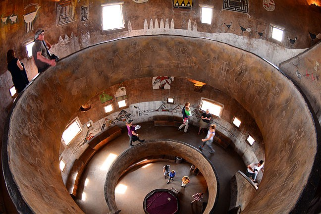 This fisheye image shows the inside of the watchtower at the Grand Canyon's Desert View.