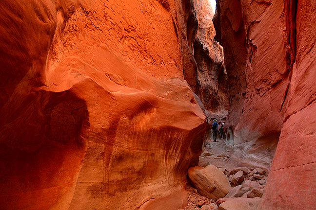 Though not as popular as Peek-a-Boo or Spooky, nearby Dry Fork of Coyote Gulch was visually interesting and easy to hike. You can see Chris and his girls, who I met at the trail head, up canyon some distance.