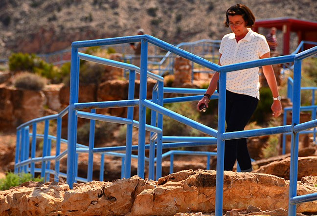 A woman makes her way down a maze of stairs at the Little Colorado Overlook. I didn't even notice the stairs until I was walking back to my car.