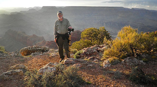 Happy to be making pictures, your host poses for one at the Grand Canyon.