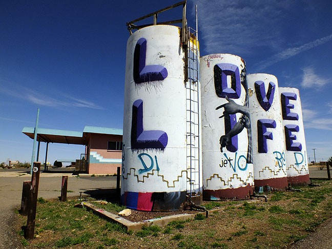 These tanks in Gray Mountain, Arizona had been heavily, and interestingly, tagged with graffiti, such that I was not the only one who stopped to photograph them as I passed through.