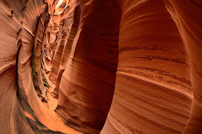 Experience from photographing slot canyons over the years has led me to bring and use my 10-17mm Tokina fisheye, and as you can see in this image, that was a good call.