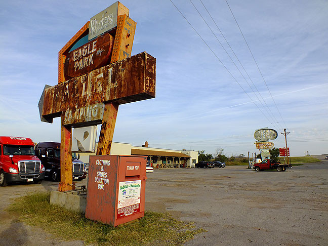 On the way to the Refuge, I stopped by the Trading Post in Cache, Oklahoma, to inquire about touring Eagle Park, a long-abandoned amusement park I visited when I was a kid. The owners, Wayne and Ginger, were unable to take me on the tour because Wayne away at a farm sale, and Ginger needed to mind the store. I told them I hoped to return soon with my wife.