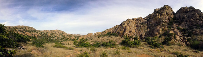 This panorama shows the area around the headwaters of Post Oak Creek. Click it to view it larger.