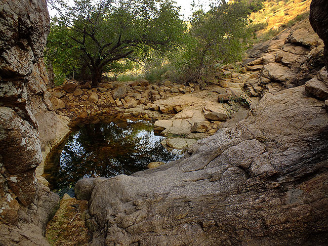 This view from the base of Post Oak Falls wouldn't be feasible if the falls was flowing.