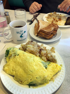 On our way to hike and explore at Seneca Creek State Park, Tom and I had a bite of breakfast at the Bel-Loc. The omelette was really good, but the home fries were pretty bland. Tom likes a Bel-Loc specialty called scrapple.