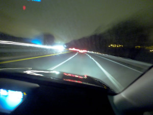 This was the view of the highway at night as we drove to Hampden.