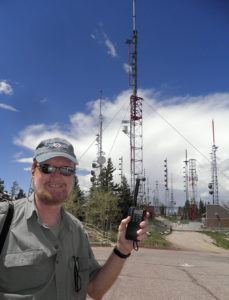 This is an antenna geek thing: my four inch rubber duck vs million-watt radio and television transmitters on Sandia Peak.