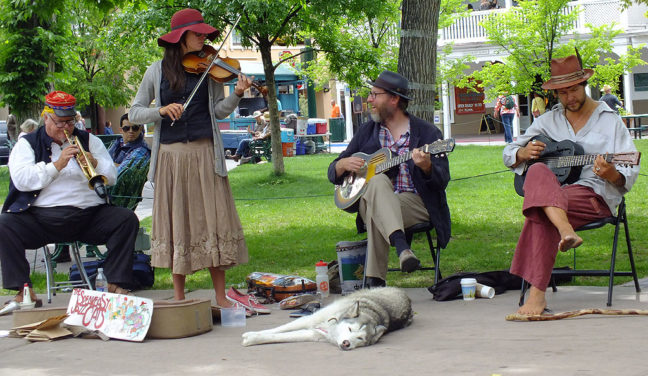 This is one of Abby's images of the Speakeasy Jazz Cats, the musicians we saw performing on The Plaza in Santa Fe.