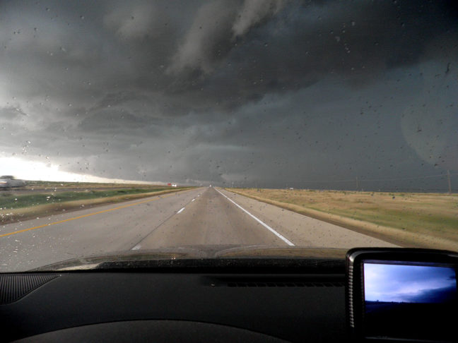 As we approached this thunderstorm and heard dire warnings about it on the weather radio, we decided to take the next exit and head south, but that plan was cut short.