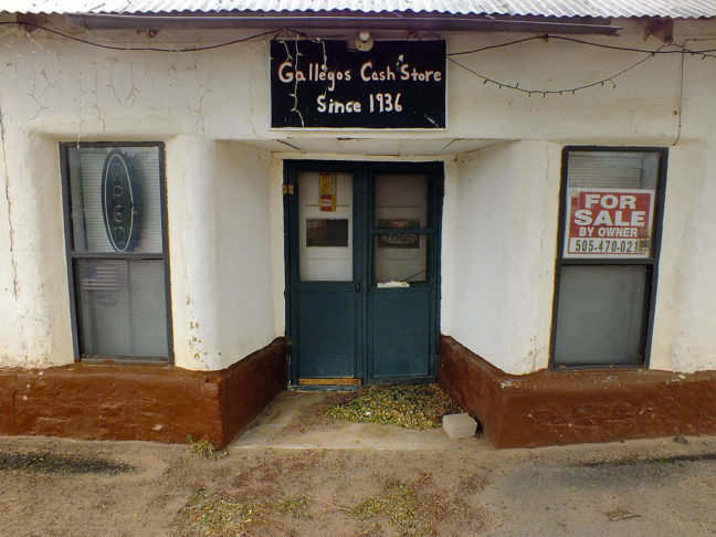 Gallegos Cash Store in Villanueva is closed and for sale. In 1999, I bought supplies here from the late Pete Gallegos.