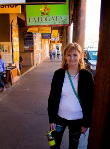 Abby smiles as we begin our walking tour of Santa Fe's historic Plaza.