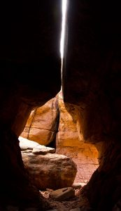 "This is ""the keyhole,"" a notable spot on the Joint Trail at Canyonlands."