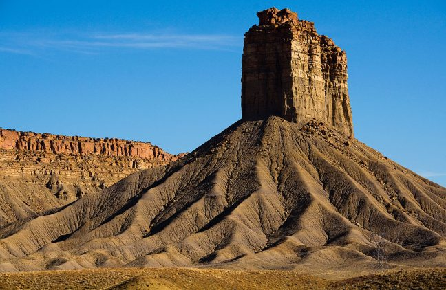 Chimney Rock near the Colorado/New Mexico border looks commanding in maturing afternoon light.