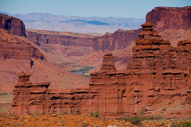 Looking east from the Fisher Towers trail head is this commanding view which includes the Colorado River.