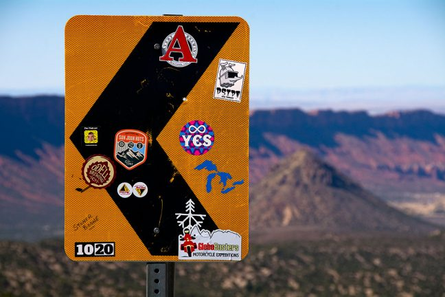 We spotted this decorated road sign on our way up the La Sal Mountains Loop drive.