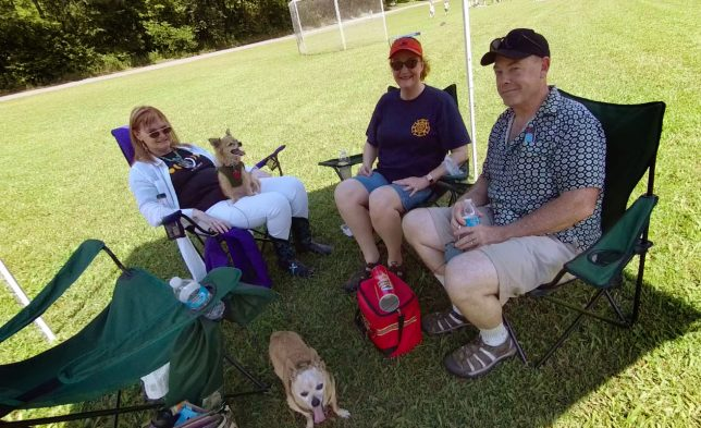 Team Blackout and their mascots hang out under my shade tent in St. Francois State Park.