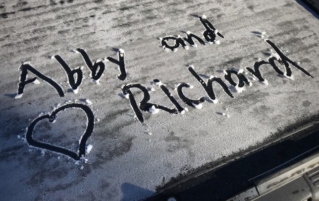 I drew this in frost on the bed cover of our truck the morning we left Santa Fe.