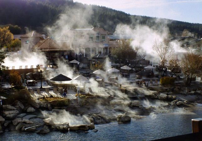 The hot springs on the San Juan Riverwalk fill the air with steam on the cold morning we left Pagosa Spring, Colorado.
