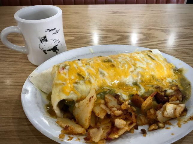 "I'm not a huge food photographer, but I made this image so I could brag on the breakfast burrito at Santa Fe's Flying Tortilla restaurant. It is made with green chilis and their famous ""Flying Potatoes."""