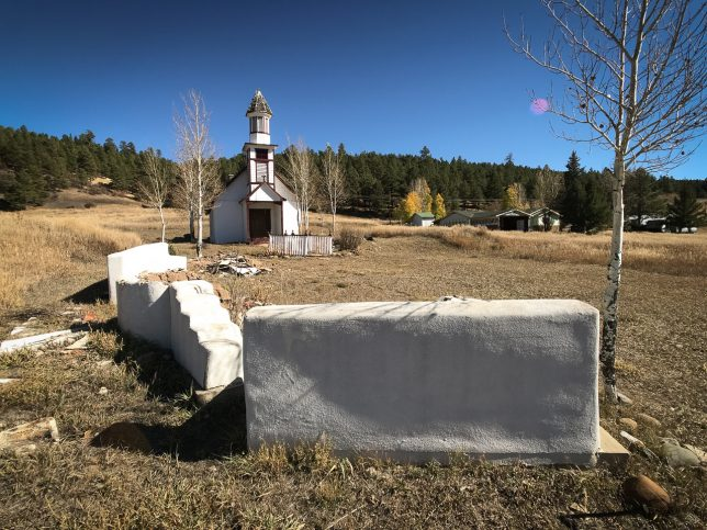 This broader overview gives a sense of setting for this small, apparently unoccupied church in Pagosa Springs.