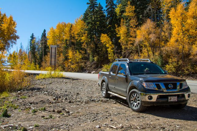 Our Nissan Frontier LE 4X4 Crew Cab pickup sits at a turnout near Wolf Creek Pass.
