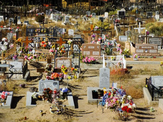 The Sacred Heart Church in Nambe, New Mexico is home to this beautiful cemetery.