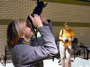 Devon Liljequist and Kathy Ingram take aim at some skylight reflections.