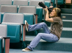 Debbie Liljequist makes pictures in the auditorium at the Pontotoc Technology Center.