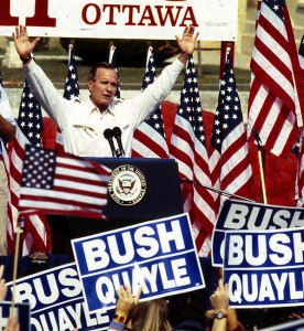 """The biggest event I photographed in my months in Illinois in 1988 was a visit from Vice President George H. Bush. It was then I heard him utter his famous line, """"No new taxes,"""" which turned out to be a lie."""