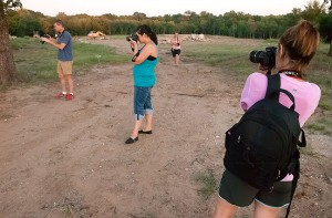 Team photo: our group makes pictures just as the golden moment fades into the blue hour.