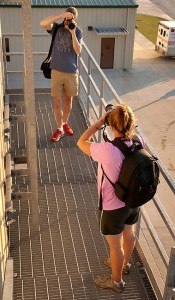 Steve and Sharla photograph each other on the fire training tower.