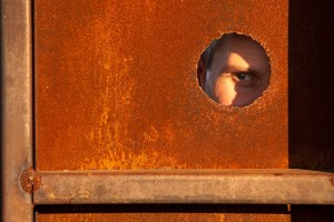 We used Steve's eye for this unusual portrait in the area where welders practice.