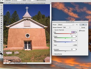 This is the image file in our example today, a mission church on the Pecos River in northern New Mexico, shot on 6x7 color film in 1999. Beside it is Abode Photoshop's channel mixer dialog.