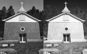The result: two very different ways to render a color image in black-and-white using the channel mixer. On the left is the blue filter emulator, and on the right is the red filter option. There are several other filters in between, including an infrared option.