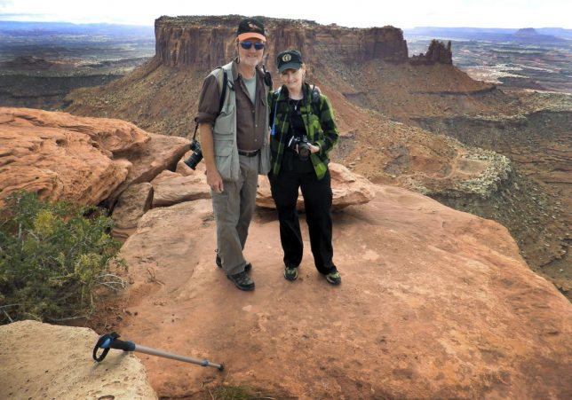 Abby and I handed my Olympus FE-5020 to a fellow hiker to make this picture of us at Canyonlands National Park in October 2010.