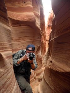 I wanted a picture of myself in Zebra Slot Canyon at Grand Staircase/Escalante National Monument in April 2015, so I handed my Olympus FE-5020 to a fellow hiker.